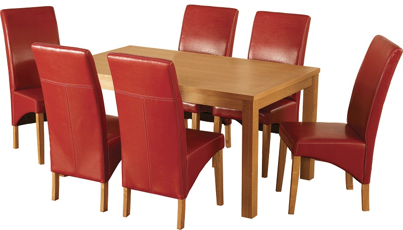 Natural Oak Veneer/Rustic Red