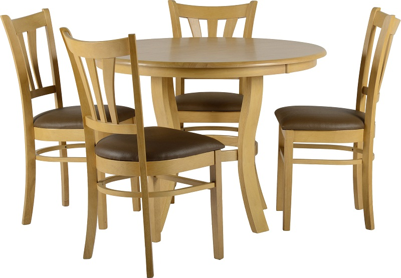 The Grosvenor Dining Set is a Wooden Dining Set comprised of a Round Dining Table accompanied by 4 Dining chairs , Please click to get details