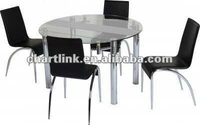 Extending Frosted Glass Top Dining Room Table With 4 Chairs , Please click to get details
